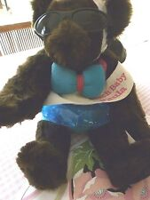 "Vermont 17"" Dark Brown Teddy Bear Dressed as a Beach Baby with Tube and Cap"