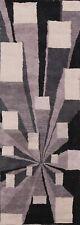Contemporary Geometric Oriental Runner Rug Modern Hand-Tufted Wool 3x8 ft Carpet