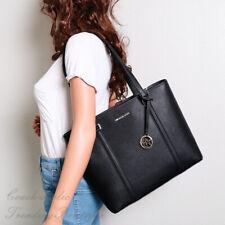NWT Michael Kors Sady Medium NS Top Zip Shoulder Bag Tote in Black Leather