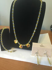 Yellow and White Crystal Necklace, Bracelet, & Earrings Beads Hand Made