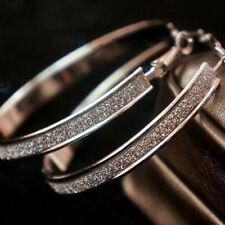 Neu Mode grosse Silber Kristall-Creolen Ohrringe Creolen Sterne Neu