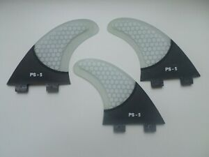 CARBON BASE performance core surfboard THRUSTER FINS clear (set x 3) FCS compati