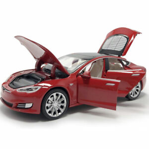 Tesla Model S 100D 1/32 Model Car Diecast Kids Gift Toy Vehicle Sound Light Red