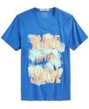 GUESS Men's V-neck Short Sleeve Graphic Tee T-shirt XL Blue Cobalt