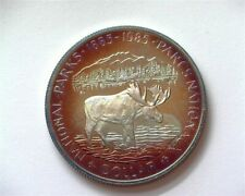 CANADA 1985 SILVER DOLLAR -NATIONAL PARKS- PERFECT PROOF DCAM IRIDESCENT TONING!