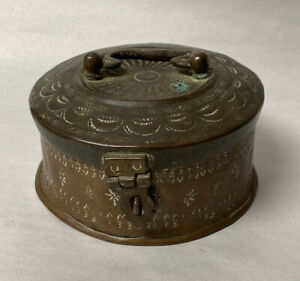 ANTIQUE COPPER PERSIAN MIDDLE EAST HAND HAMMERED SPICE LOCK BOX TIN