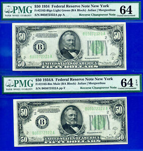 1934-A / 1934 $50 FRN (( Rare New York - Reverse CHANGEOVER Notes )) PMG 64EPQ-