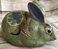 Vintage Tonala Mexican Folk Art Terra Cotta Clay Bunny Rabbit Figural Figurine