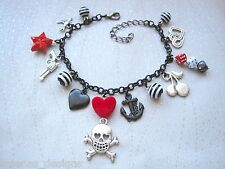 TATTOO LOVE BLACK CHARM BRACELET Red Heart Skull Rose Anchor Dice Star Swallow