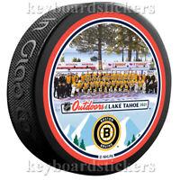 2021 NHL Outdoors Lake Tahoe Boston Bruins Team Photo Hockey Puck  - NEW
