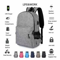 Unisex Anti-Theft Laptop Backpack Travel Business School Bags Rucksack +USB Port