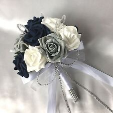 POSY BOUQUET, NAVY BLUE, WHITE & GREY ROSES,  ARTIFICIAL WEDDING FLOWERS