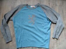 PRINGLE Scotland weiter Lambswoll-Pullover grau hellblau Gr. M TOP KoS917