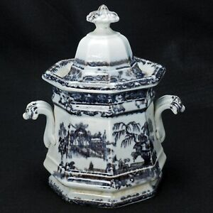 English Victorian Staffordshire Transferware Sugar Bowl Mid 19th Century