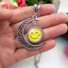 Emoji face Tongue Emoticon moon Cabochon Glass chain pendant necklace*