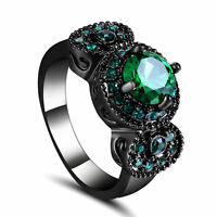Engagement Rings Retangle Green Emerald Size 7 Women's 10KT Black Gold Filled