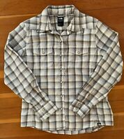 THE NORTH FACE Shirt Women's M Gray Beige Plaid Western Long Sleeve Pearl Snaps