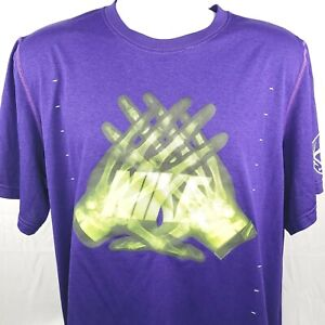 Nike Dri-Fit Mens Large Purple Graphic T-Shirt Football Neon Yellow Polyester