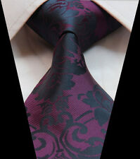 Mens Wedding Tie Sale - Plum  Purple Black  - Floral Paisley Silk - FREE HANKY