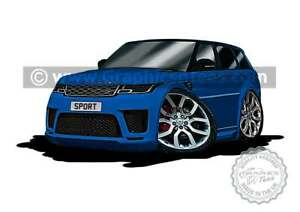 Range Rover Sport Velocity Blue Car Caricature A4 Print Personalised Gift