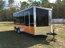 7x16 +2' Slanted V Enclosed Cargo Motorcycle Trailer free Harley Davidson Decals