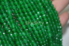 "Natural 4mm Faceted green emerald Round Gems Loose Beads 15"" Strand AA"