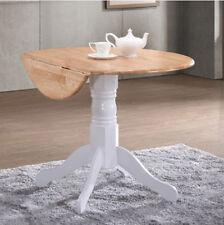 Small Round Pedestal Table White Drop Leaf Folding Wooden Oak Dining Kitchen Leg