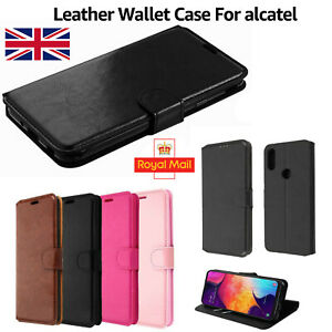 For All Alcatel Mobile Phones Premium Leather Flip Stand Wallet Smart Case Cover