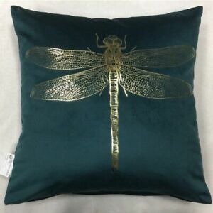 Gold Dragonfly Print Velvet Cushion Cover Teal Pillow Case with Golden Stamping
