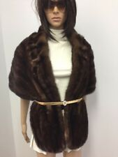 GENUINE BROWN MINK FUR STOLE CAPE WRAP  COLLAR n18-34