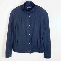 Eileen Fisher Women's Black Snap-Front & Full-Zip Organic Cotton Jacket Size XS
