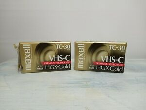 Brand New Lot of 2 Maxwell VHS-C TC-30 HGX-Gold Premium High Grade Video Tapes
