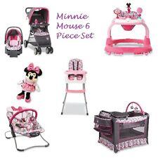 7 Pc. Minnie Mouse Newborn Set Car Seat Stroller Playard Crib Bouncer High Chair