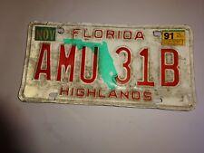 1991 Florida State Issued License Plate AMU 31B Highlands