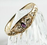 Antique Bates & Bacon Gold Filled Open Work Purple Glass Hinged Bangle Bracelet