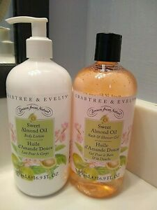 Crabtree & Evelyn Sweet Almond Oil Lotion And Shower Gel 500 ml 16.9 oz ea NEW