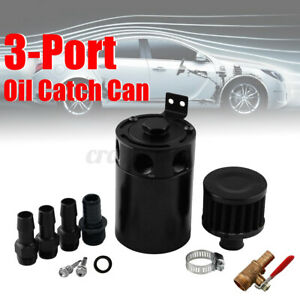 Universal 3 Port Compact Baffled Oil Reservoir Catch Can Tank Breather Filter E