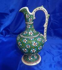 """Vtg Collectible Hand Painted Ceramic Green Floral 12-3/8"""" Ewer Pitcher"""