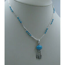QVC 3 Strand .925 Liquid Sterling Silver Natural Turquoise Feather Necklace