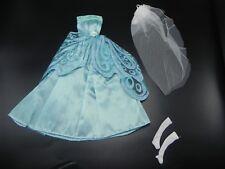 Doll Clothes for Barbie Dress BLUE Satin Lace Long Gloves VEIL