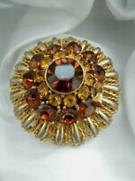 Vintage Signed Sphinx Gold Tone Glass Domed Flower Brooch Pin In Need Of Repair