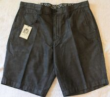 English Laundry Mens Black Steel Cotton Flat-Front Shorts NWT $60 Waist 32