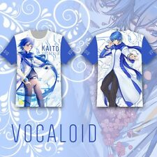 Anime VOCALOID KAITO T-shirt Tee Tops Summer Cosplay Costume Short Sleeve Otaku