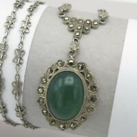 Vtg 1930 Art Deco Sterling Silver Natural Chrysoprase Marcasite Pendant Necklace