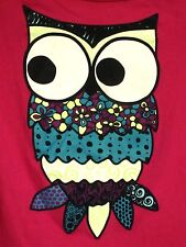 OLD NAVY youth med bird T shirt psychedelic owl tee size 8 hot pink longsleeves