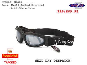 RayZor Ski Snowboard Sunglasses Goggles Designer Uv400 (2In1) Black RRP£69