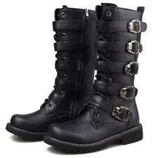 Mens Gothic Buckle Knee High Boots Militery Combat Biker Motorcycle Riding Shoes