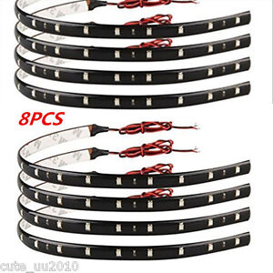 8X Red Super Bright 15LED 30CM Car Motorcycle Grill Flexible Waterproof Lights