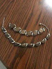 Vintage Signed Lisner  Necklace Bracelet Set Brown Moonglow Lucite