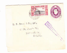 SIERRA LEONE 1941 GEORGE VITH STATIONERY ENVELOPE OPENED BY CENSOR